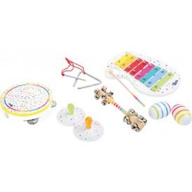 Dřevěné hračky - Dřevěný muzikální hudební set s puntíky