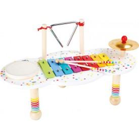 Dřevěný muzikální hudební stoleček s puntíky