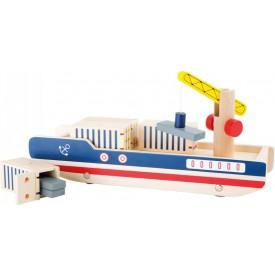 Dřevěná kontejnerová loď s jeřábem