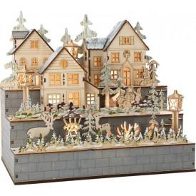 Dřevěná lampa zimní vesnice