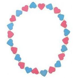 Dřevěné hračky Dětský náhrdelník s růžovými modrými srdíčky