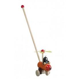 Dřevěné hračky -  tahací hračky - Jezdík - strkadlo Krtek