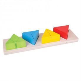 Dřevěná didaktická pomůcka - Zlomky trojúhelníky
