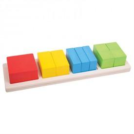 Dřevěná didaktická pomůcka - Zlomky čtverce