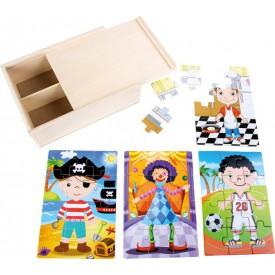 Dřevěné puzzle 4v1 v boxu - pro chlapce