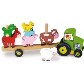 Dřevěná hračka Vilac - Traktor se zvířátky - nasazování