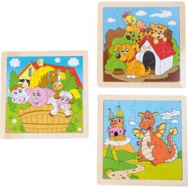 Dřevěné hračky -  Puzzle Zvířata, sada 3ks