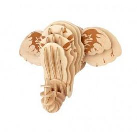 Dřevěné skládačky 3D puzzle - Hlava slona