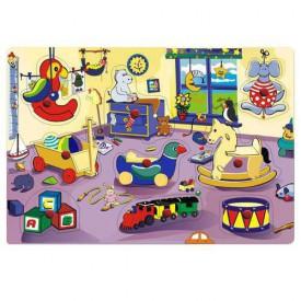 Dřevěné hračky Vkládací puzzle Vkládačka Dětský pokojíček A