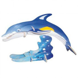 3D dřevěné puzzle dřevěná skládačka zvířata - Delfín HC002A