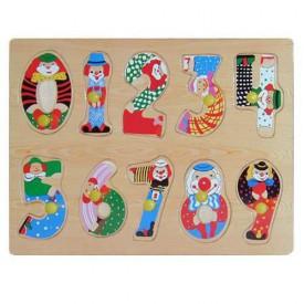 Dřevěné hračky - Vkládací puzzle Vkládačka Číslice s klauny