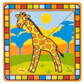 Dřevěné hračky -  Vkládací puzzle žirafa