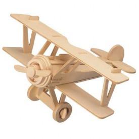Dřevěné skládačky 3D puzzle letadla - Dvouplošník P060