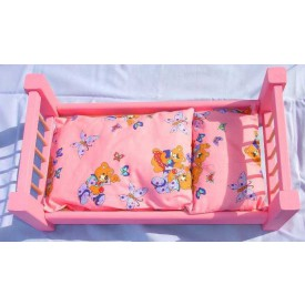 Dřevěné hračky pro holky - Velká růžová postel