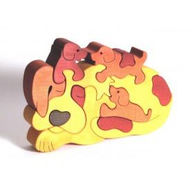 FAUNA Dřevěné Puzzle Pejsek se stěňátky