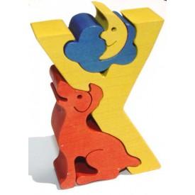 Dřevěné vkládací puzzle z masivu - Abeceda písmeno Y pejsek