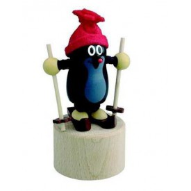 Dřevěné hračky -  dekorace - Mačkací figurka Krtek na lyžích