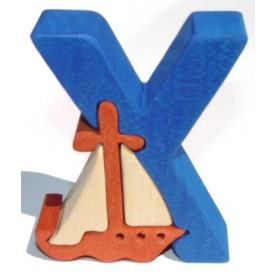 Dřevěné vkládací puzzle z masivu - Abeceda písmeno Y jachta