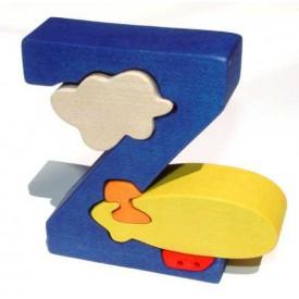 Dřevěné vkládací puzzle - Abeceda písmenko Z vzducholoď