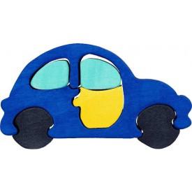 Dřevěné vkládací puzzle z masivu - Malé auto modré