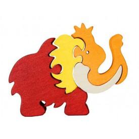 Dřevěné vkládací puzzle z masivu - vkládačka - Malý mamut