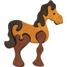 Dřevěné vkládací puzzle z masivu- vkládačka - Malý kůň hnědý