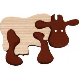 Dřevěné vkládací puzzle z masivu - Malá kráva hnědá