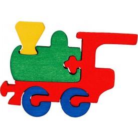 Dřevěné vkládací puzzle z masivu- vkládačka - Malá mašinka