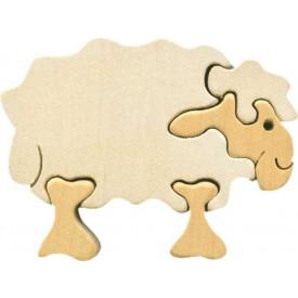Dřevěné vkládací puzzle z masivu - Malá ovečka bílá