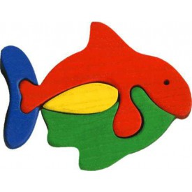 Dřevěné vkládací puzzle z masivu - vkládačka - Malá rybka