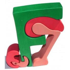Dřevěné vkládací puzzle z masivu- Abeceda písmeno F plameňák