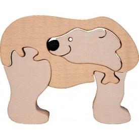 Dřevěné vkládací puzzle z masivu - vkládačka - Lední medvěd