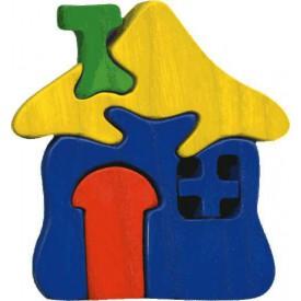Dřevěné vkládací puzzle z masivu - vkládačka - Malý domeček