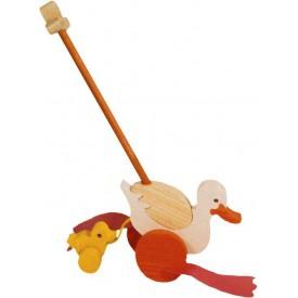 Dřevěné tahací hračky - plácačka - Kačena s káčátem