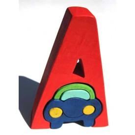 Dřevěné vkládací puzzle z masivu - Abeceda písmenko A auto