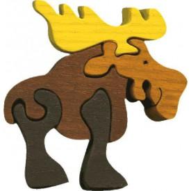 Dřevěné vkládací puzzle z masivu - vkládačka - Malý los