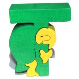 Dřevěné vkládací puzzle z masivu - Abeceda písmenko T želva