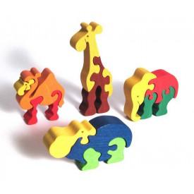 Dřevěné vkládací puzzle z masivu - Sada zoo 4 ks