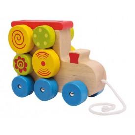 Dřevěné hračky - Tahací hračka na provázku - Lokomotiva