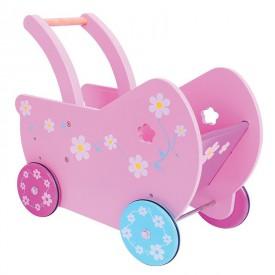 Bigjigs Toys dřevěný růžový kočárek Daisy