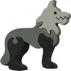 Dřevěné vkládací puzzle z masivu - vkládačka - Malý vlk