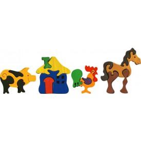 Dřevěné vkládací puzzle z masivu - Sada farma 4 ks