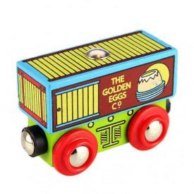 Bigjigs Rail dřevěná vláčkodráha  - Vagónek se zlatými vejci