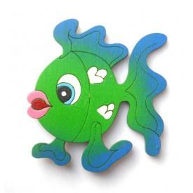 Dřevěné magnetky - magnetka rybička zelená
