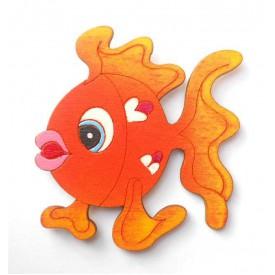 Dřevěné magnetky - magnetka rybička oranžová