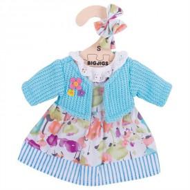 Bigjigs Toys tyrkysové šaty se svetrem pro panenku 25 cm