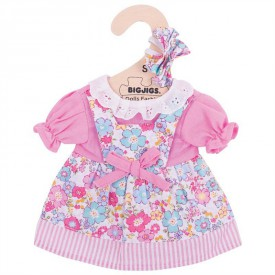Bigjigs Toys růžové květinové šaty pro panenku 25 cm