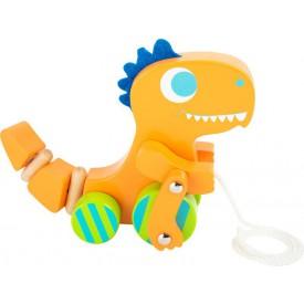 Dřevěné hračky - Dřevěný tahací dinosaurus