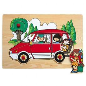 Dřevěné hračky - Vkládací puzzle - Rodinné auto červené