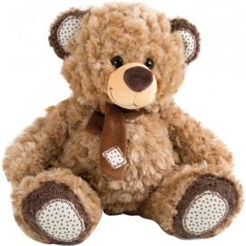 Plyšový hnědý medvídek s šálou